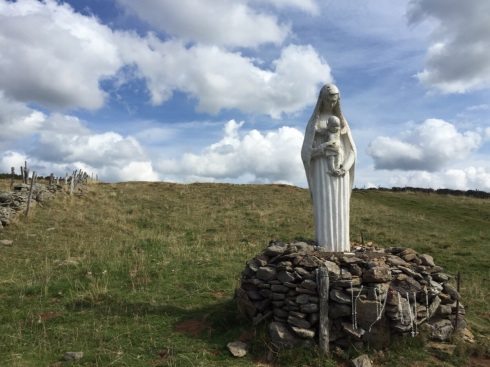 Statue on the hill facing Aubrac